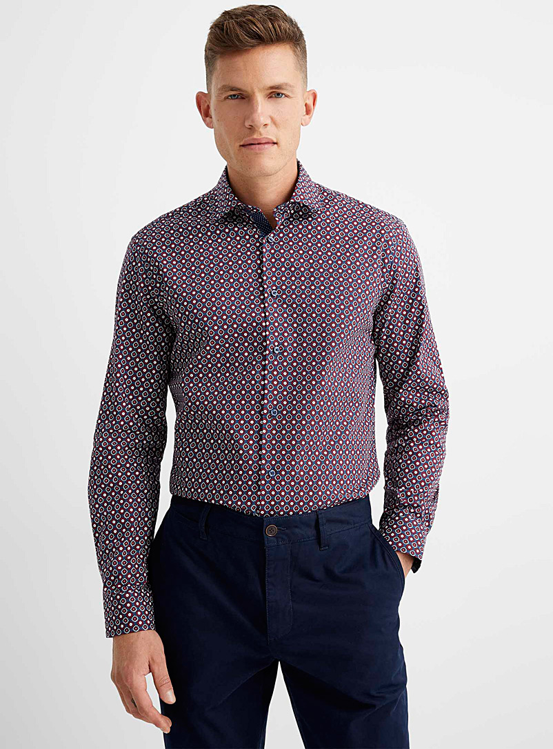 Soul of London Patterned Red Two-tone medallion shirt Comfort fit for men