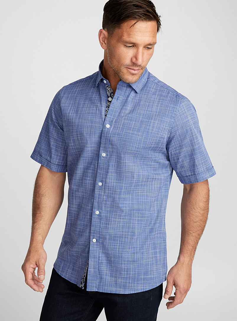 Linen-like woven shirt  Regular fit - Patterns - Marine Blue