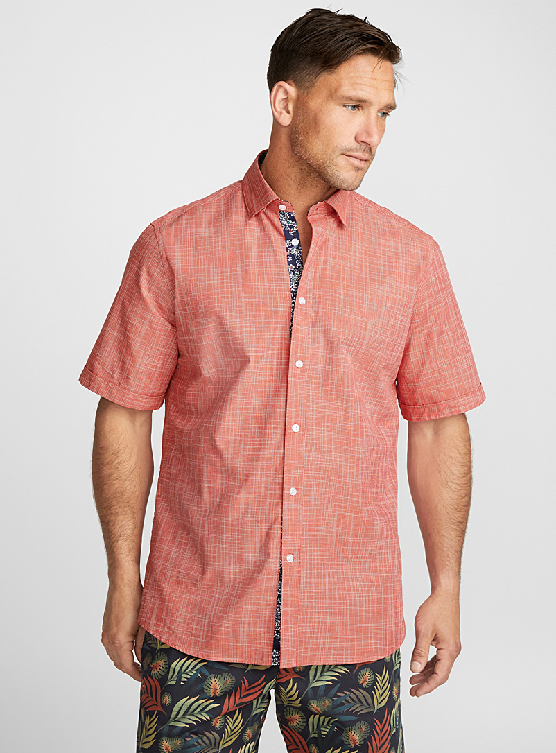 Linen-like woven shirt  Regular fit - Patterns - Orange