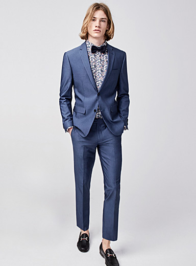 Blue bird's-eye suit <br>Slim fit