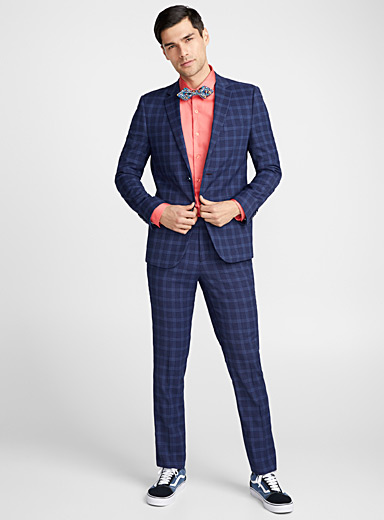 Piqué windowpane check suit  Slim fit