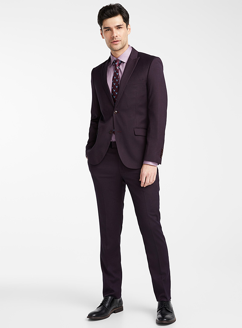 Burgundy piqué suit  Slim fit