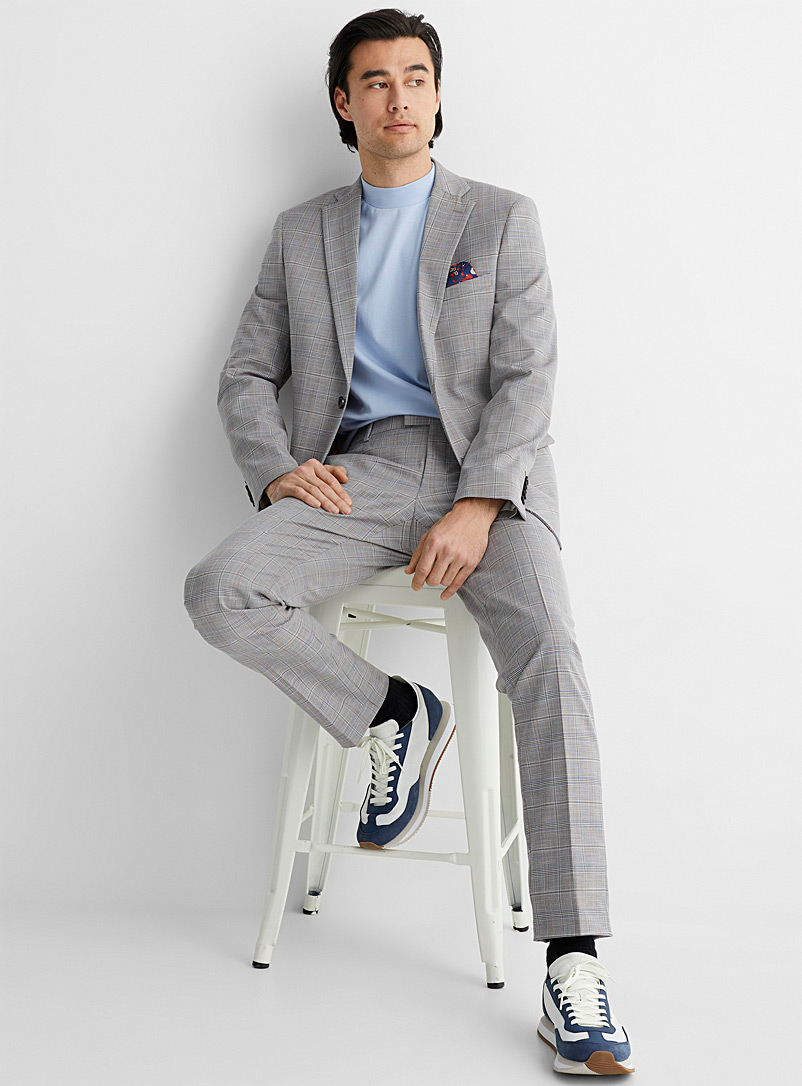 Le 31 Patterned Grey Check chambray suit Slim fit for men