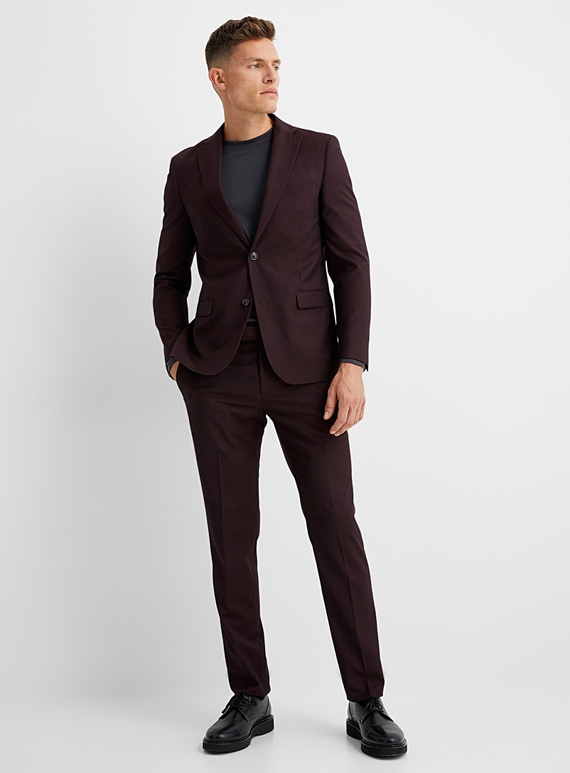Soul of London Ruby Red Tone-on-tone check suit Slim fit for men