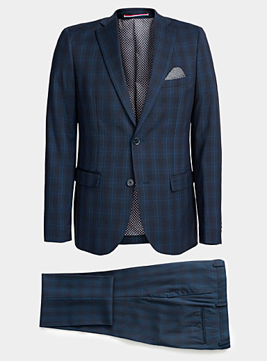 Le 31 Dark Blue Indigo windowpane check suit  Slim fit for men