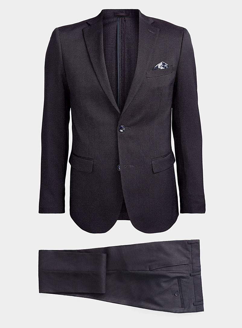 Le 31 Patterned Black Bird's eye piqué suit  Slim fit for men