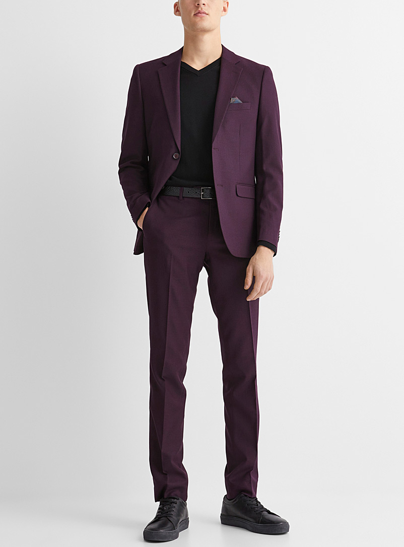 Semi-plain burgundy suit  Slim fit