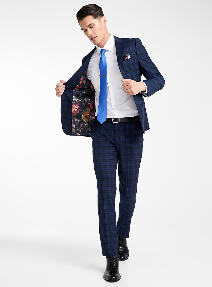 Accent blue checked suit  Semi-slim fit - Semi-slim Fit - Blue