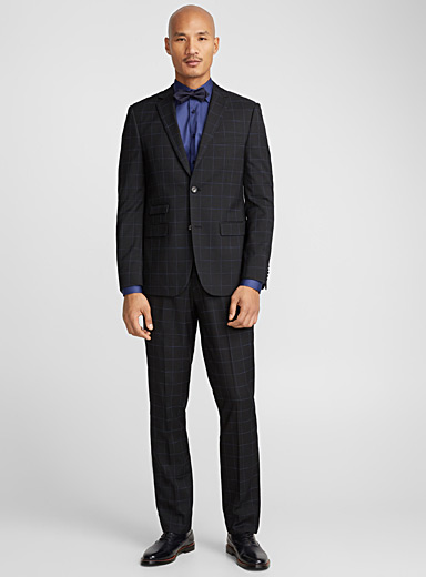 Royal windowpane check suit  Slim fit