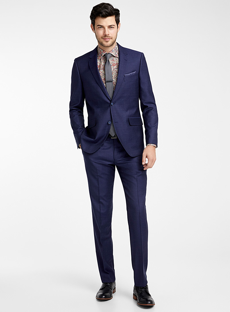 Le 31 Marine Blue Blended check Marzotto wool suit  Semi-slim fit for men