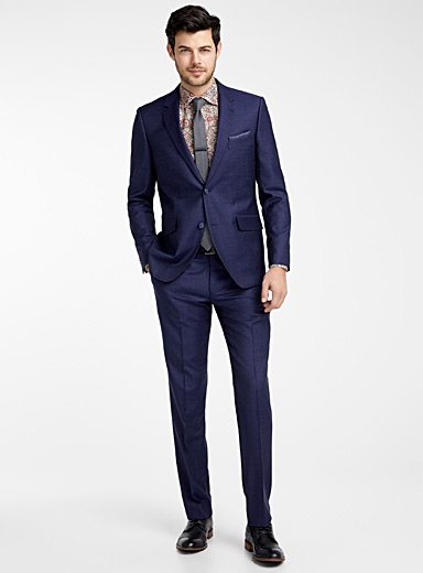 Blended check Marzotto wool suit  Semi-slim fit