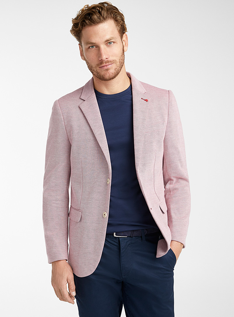 Le 31 Ruby Red Bird's-eye textured jacket  Slim fit for men