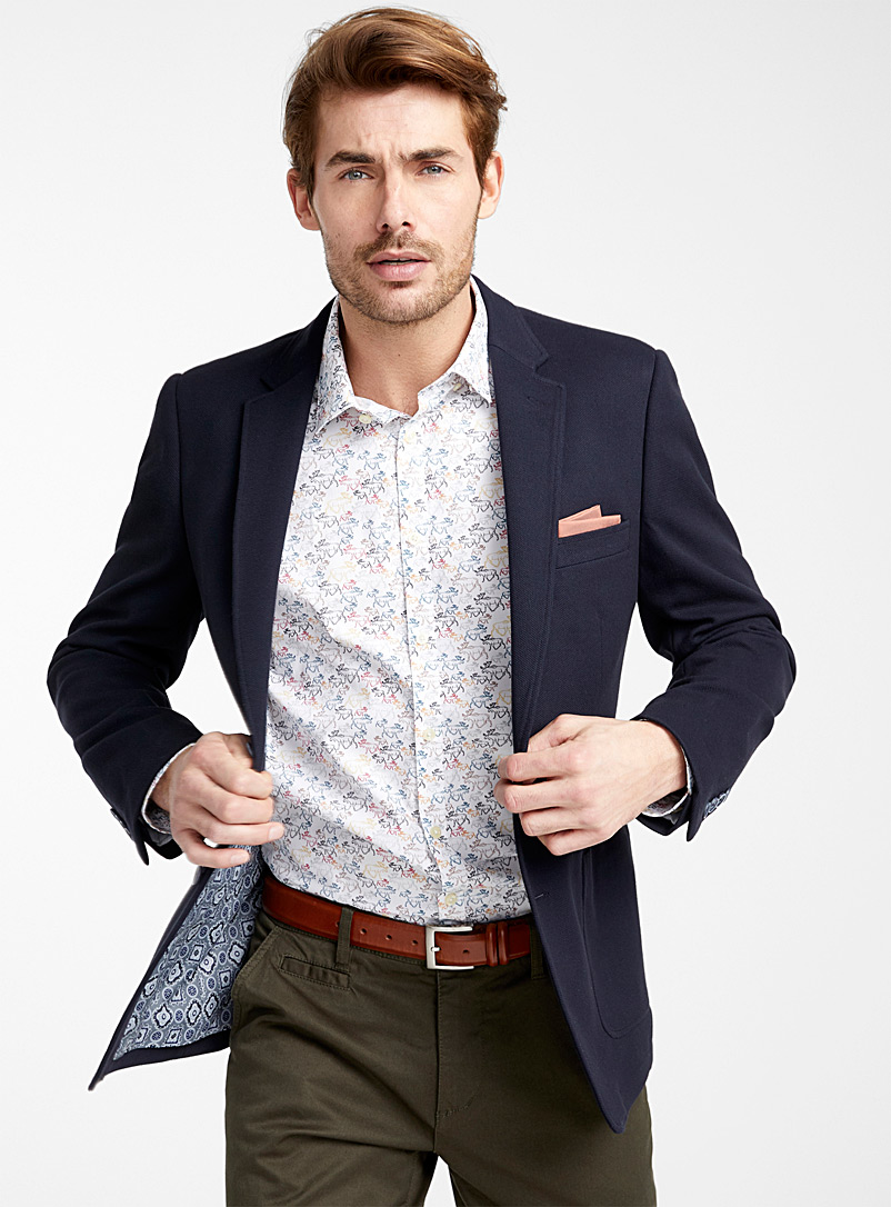 Le 31 Marine Blue Stretch piqué jacket  Slim fit for men