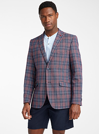 Double windowpane check blazer <br>Slim fit