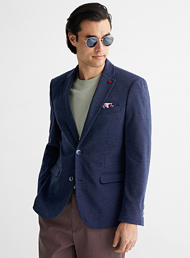 Chambray knit jacket Slim fit