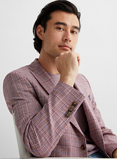 Check cotton and linen jacket Slim fit