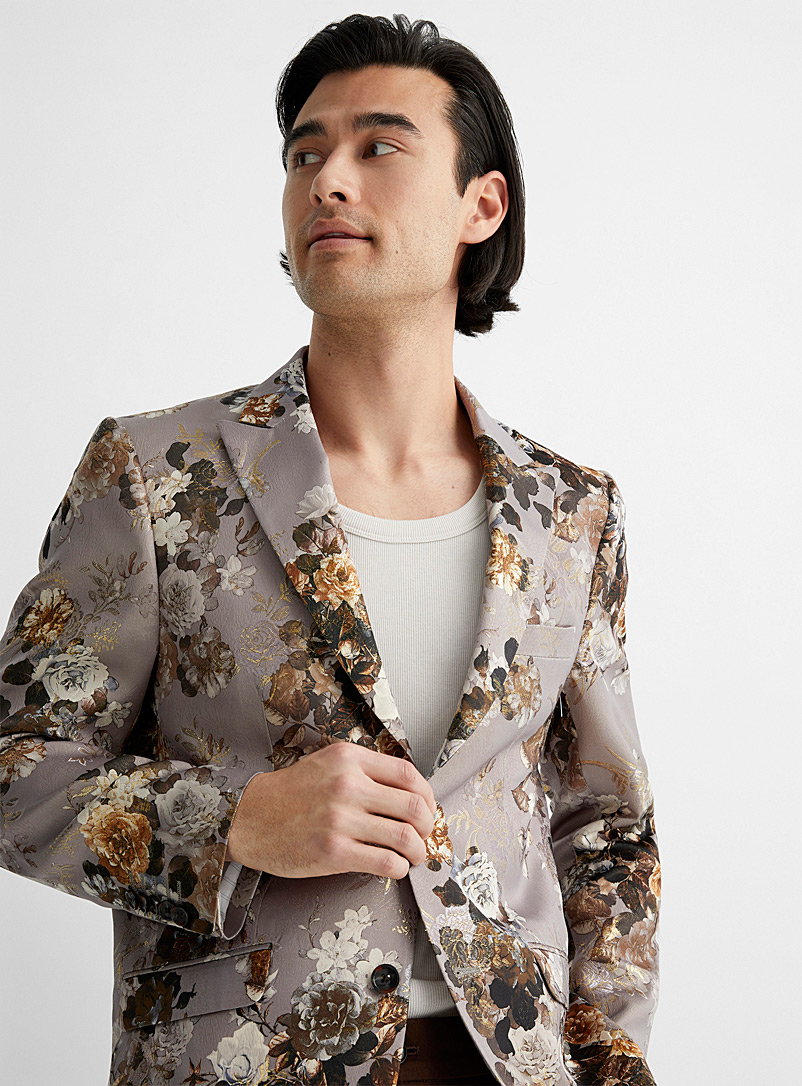 Soul of London Light Brown Metallic floral jacket Slim fit for men