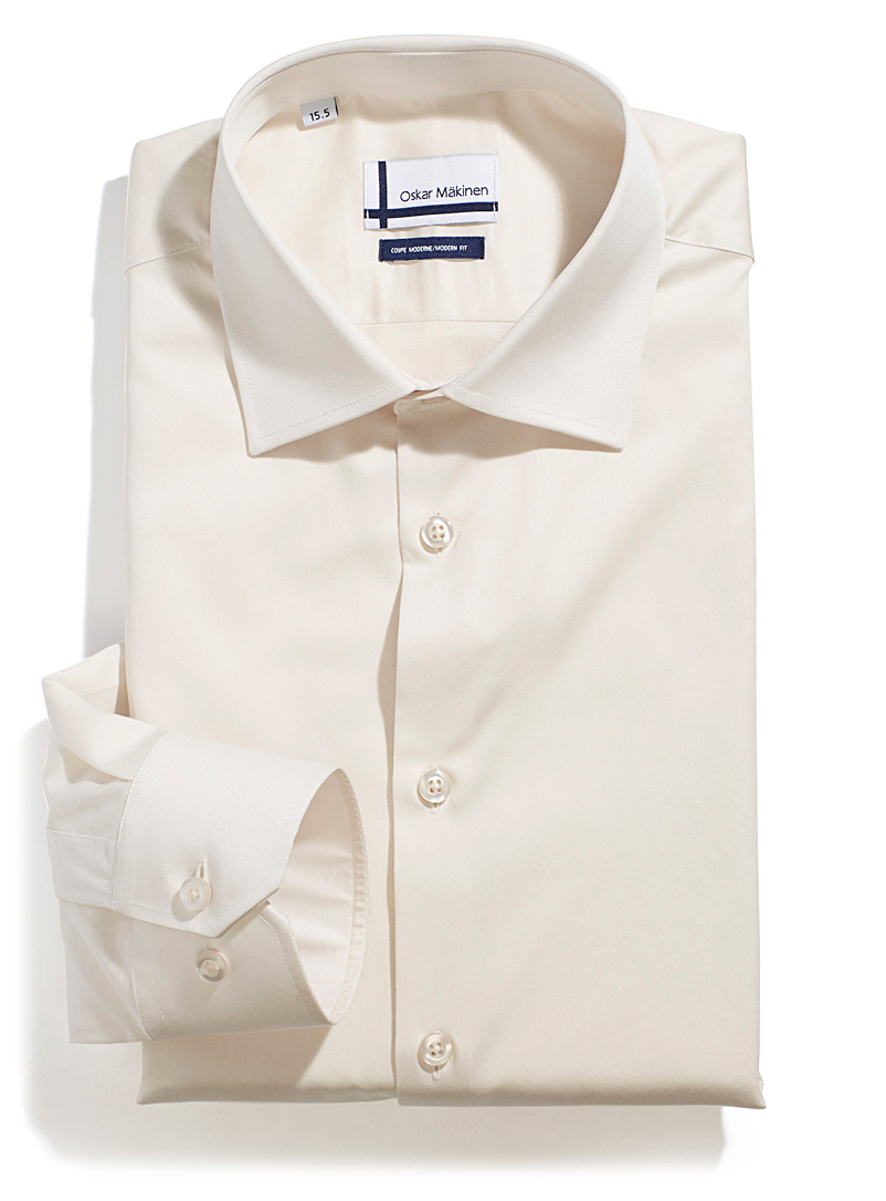 Cotton sateen shirt  Semi-tailored fit - Easy Care - Cream Beige