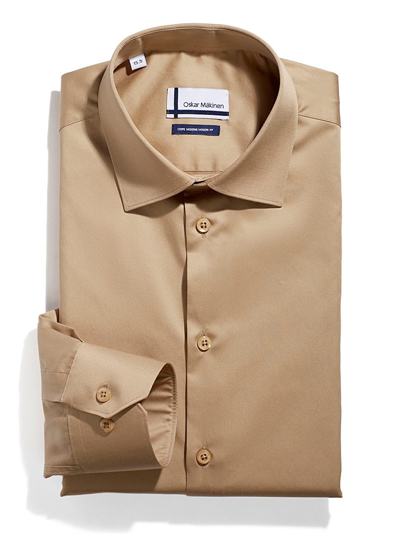 Cotton sateen shirt  Semi-tailored fit - Easy Care - Brown