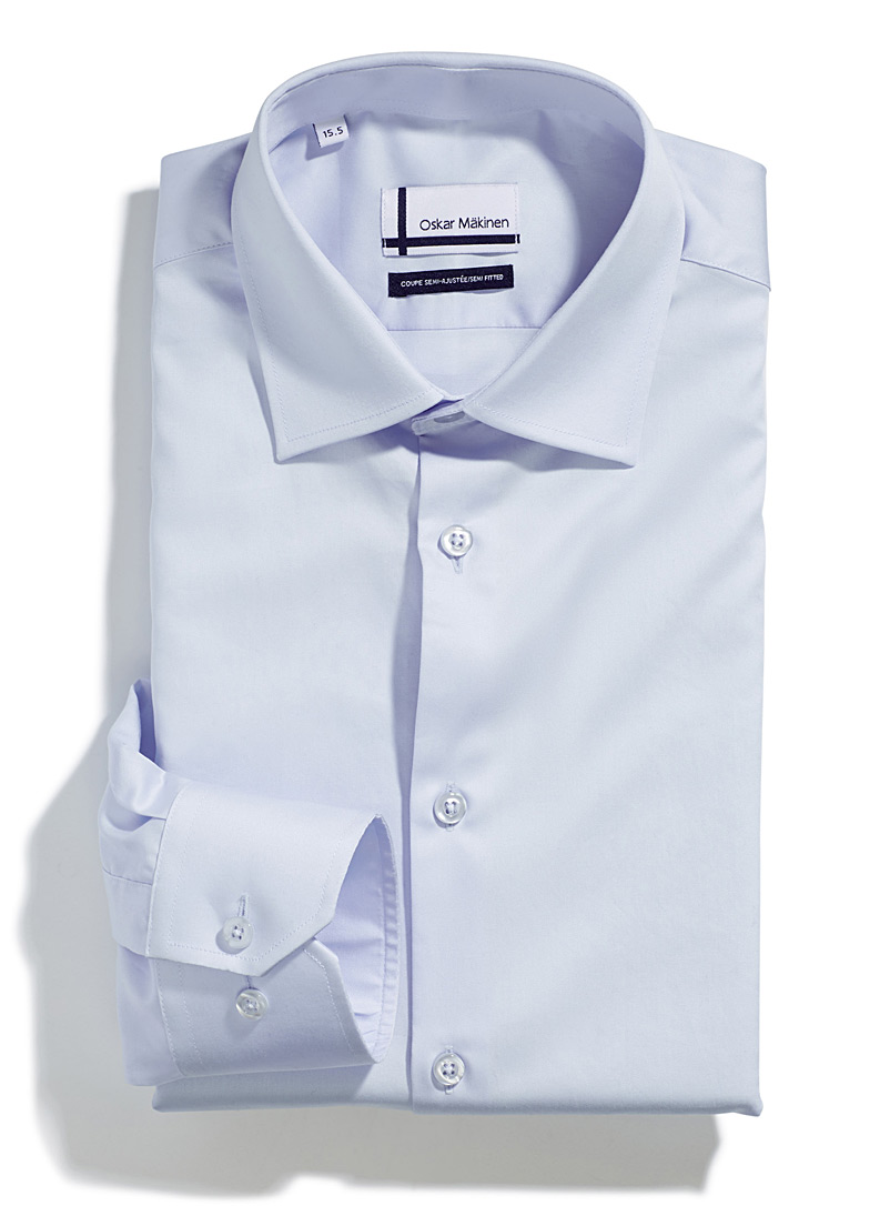 Cotton sateen shirt  Semi-tailored fit - Easy Care - Blue