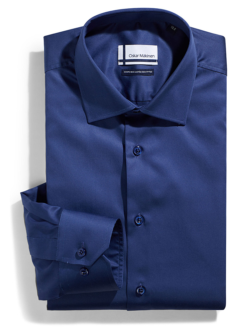 Cotton sateen shirt  Semi-tailored fit - Easy Care - Dark Blue