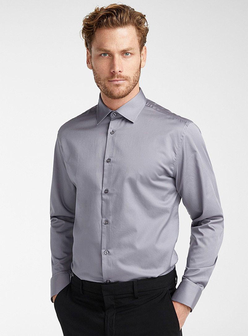 Oskar Mäkinen White Cotton sateen shirt  Modern fit for men