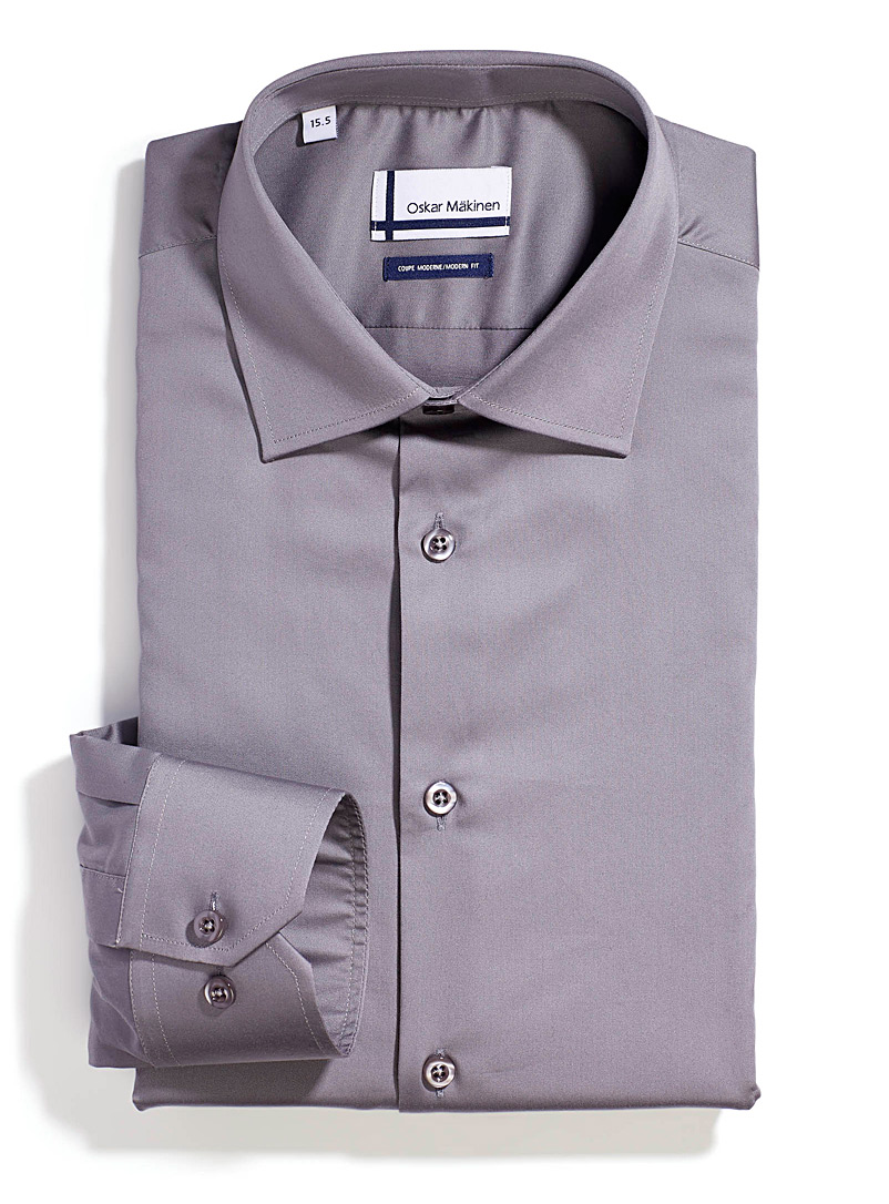 Oskar Mäkinen Blue Cotton sateen shirt  Modern fit for men