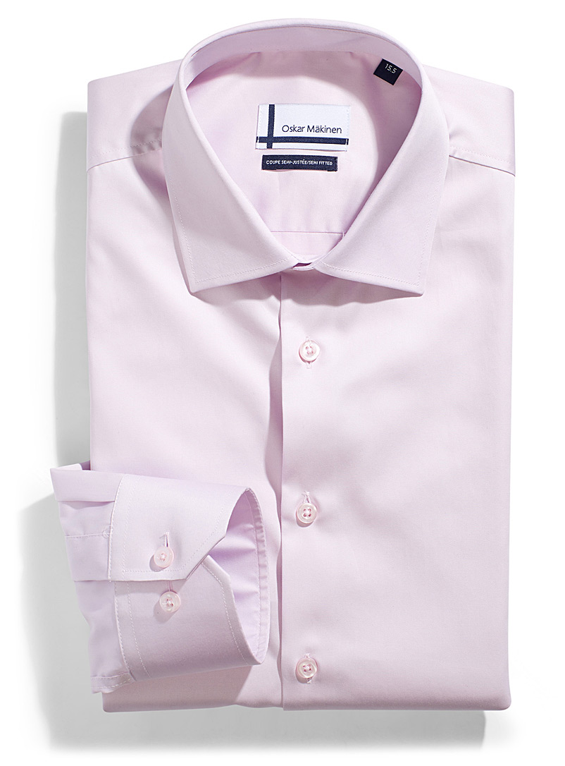 Cotton sateen shirt  Semi-tailored fit - Easy Care - Pink