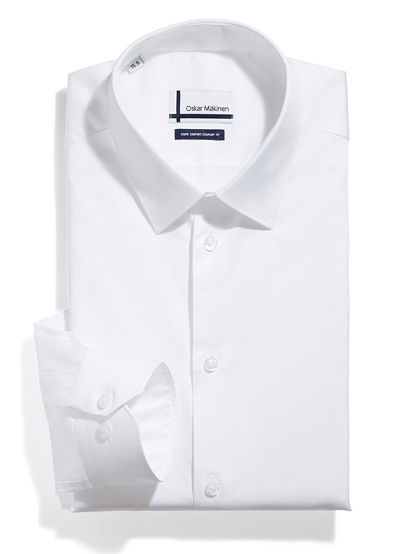 Oskar Mäkinen White Satiny business shirt  Comfort fit for men