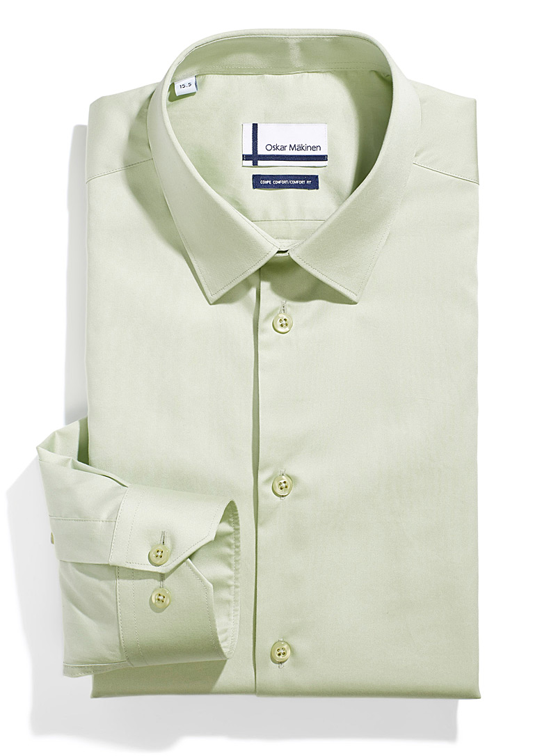 Oskar Mäkinen Lime Green Satiny business shirt  Comfort fit for men