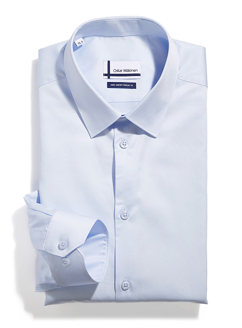 Oskar Mäkinen Blue Satiny business shirt  Comfort fit for men