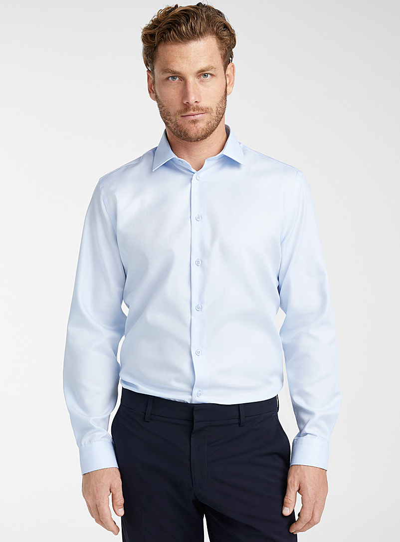 Oskar M?kinen Baby Blue Piqué executive shirt  Modern fit for men