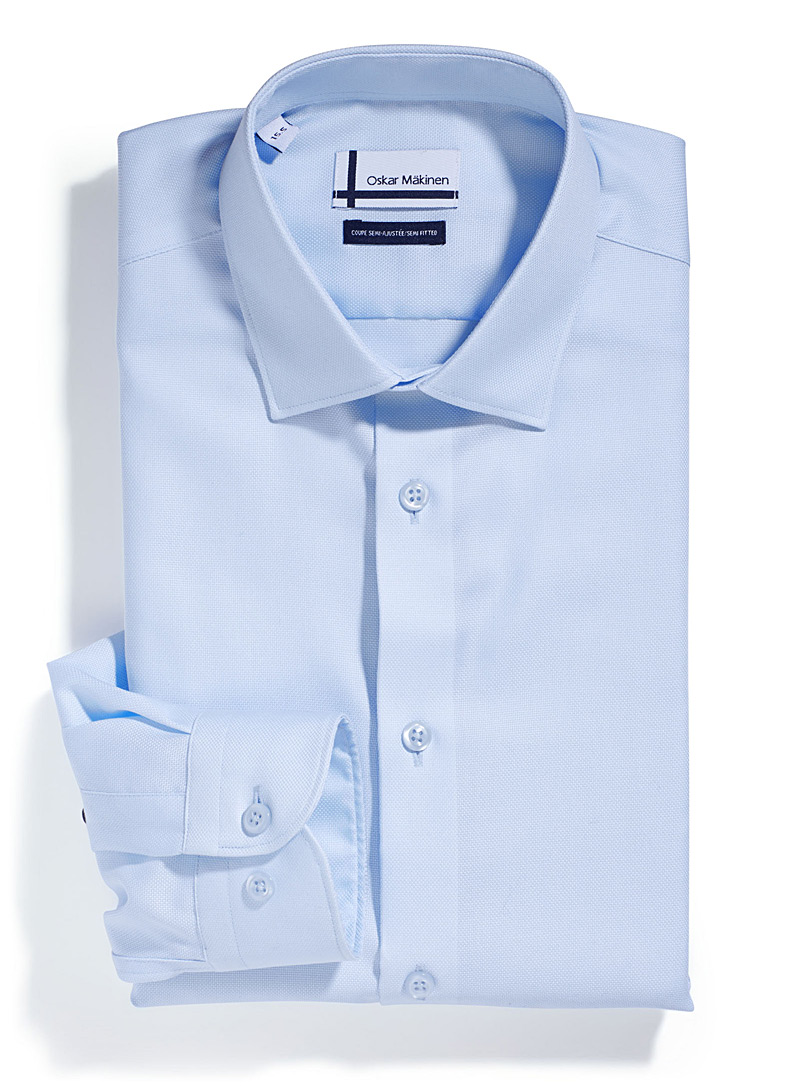 Piqué executive shirt  Semi-tailored fit - Easy Care - Baby Blue