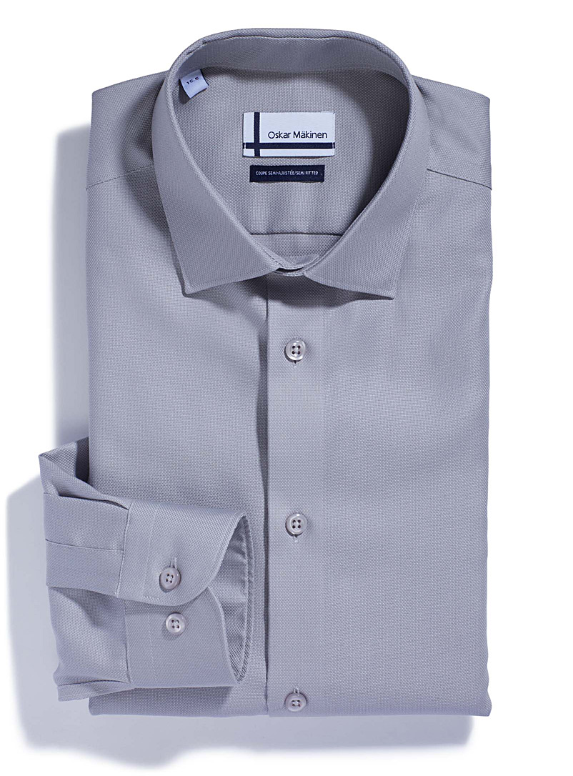 Oskar Mäkinen Dark Grey Piqué executive shirt  Semi-tailored fit for men
