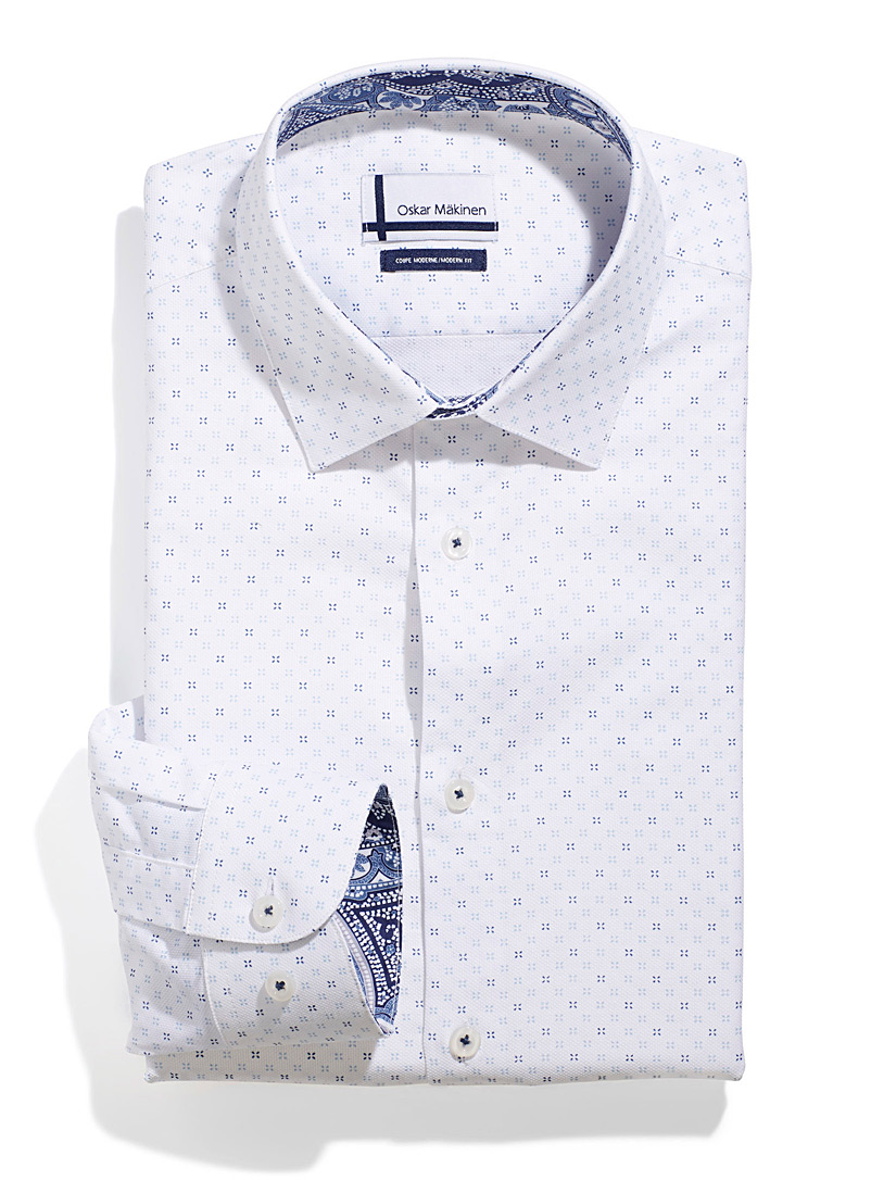 Oskar M?kinen Patterned White Floral dot shirt  Modern fit for men