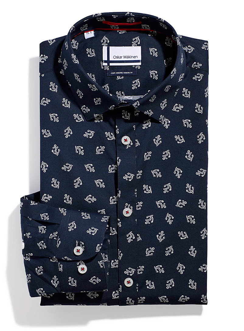 Oskar M?kinen Marine Blue Nautical shirt  Modern fit for men