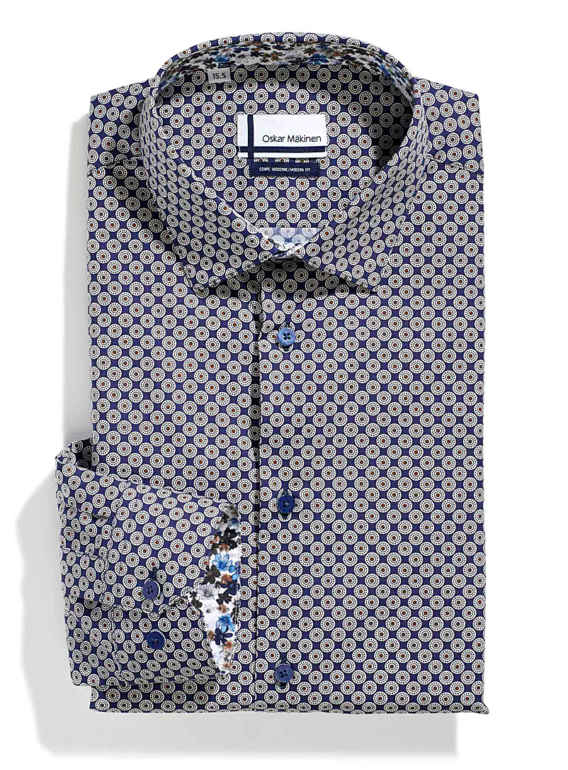 Oskar M?kinen Patterned Blue Copper rosette shirt  Modern fit for men