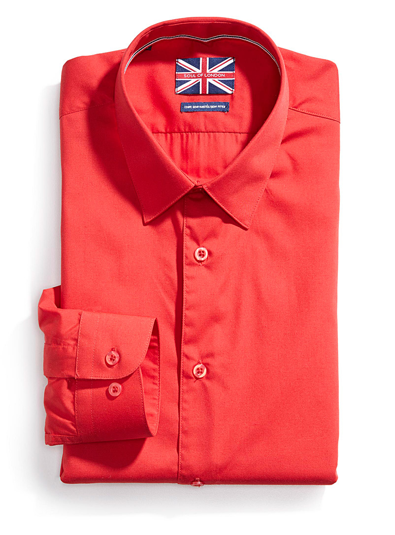 Solid essential shirt  Semi-tailored fit   - Semi-tailored fit - Red