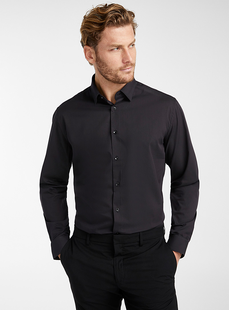 Le 31 Black Minimalist stretch shirt  Semi-tailored fit for men