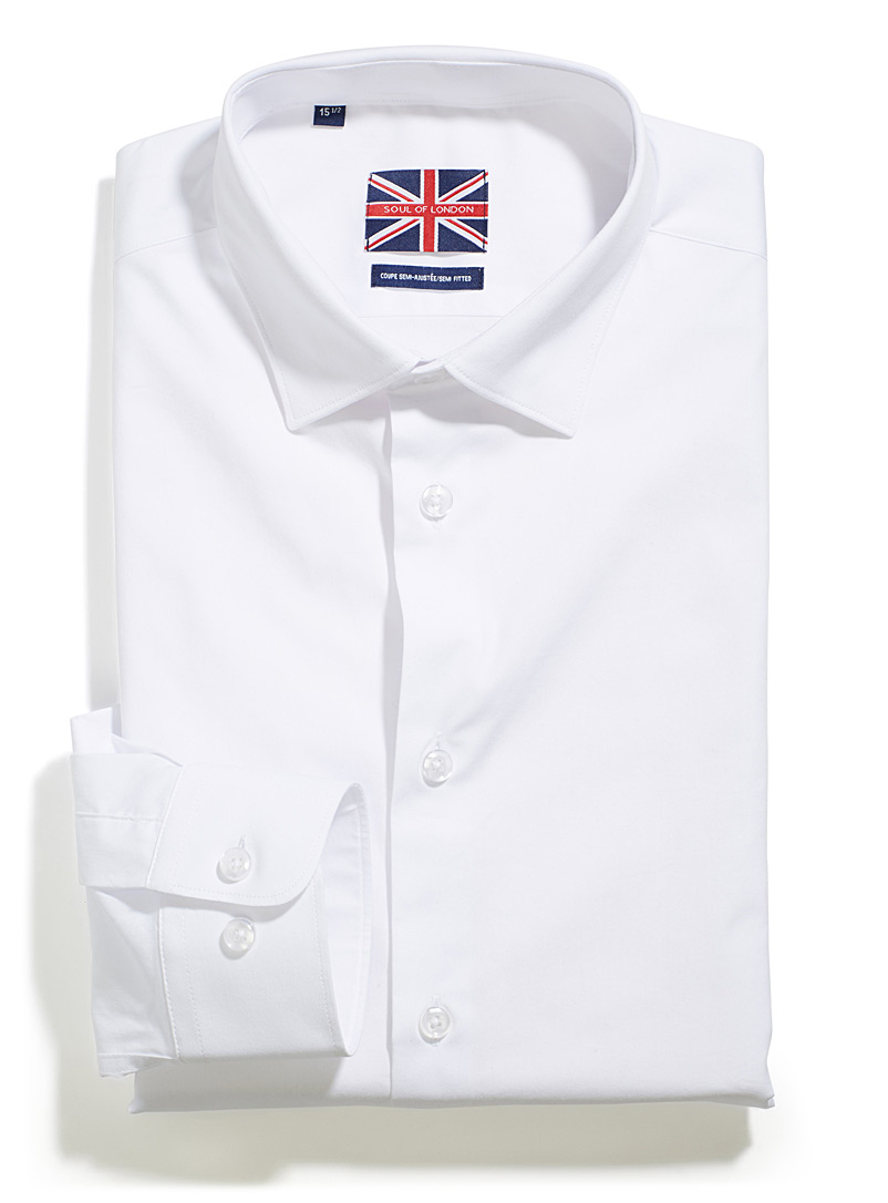 Soul of London White Minimalist stretch shirt  Modern fit for men