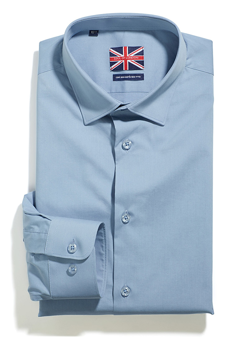 Solid stretch shirt  Semi-tailored fit - Semi-tailored fit - Slate Blue