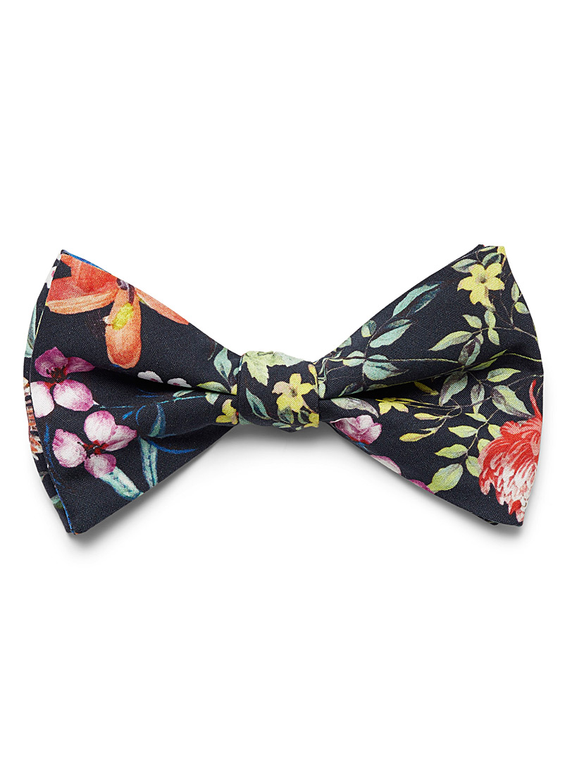 Tropical bouquet bow tie - Bow Ties - Patterned Black