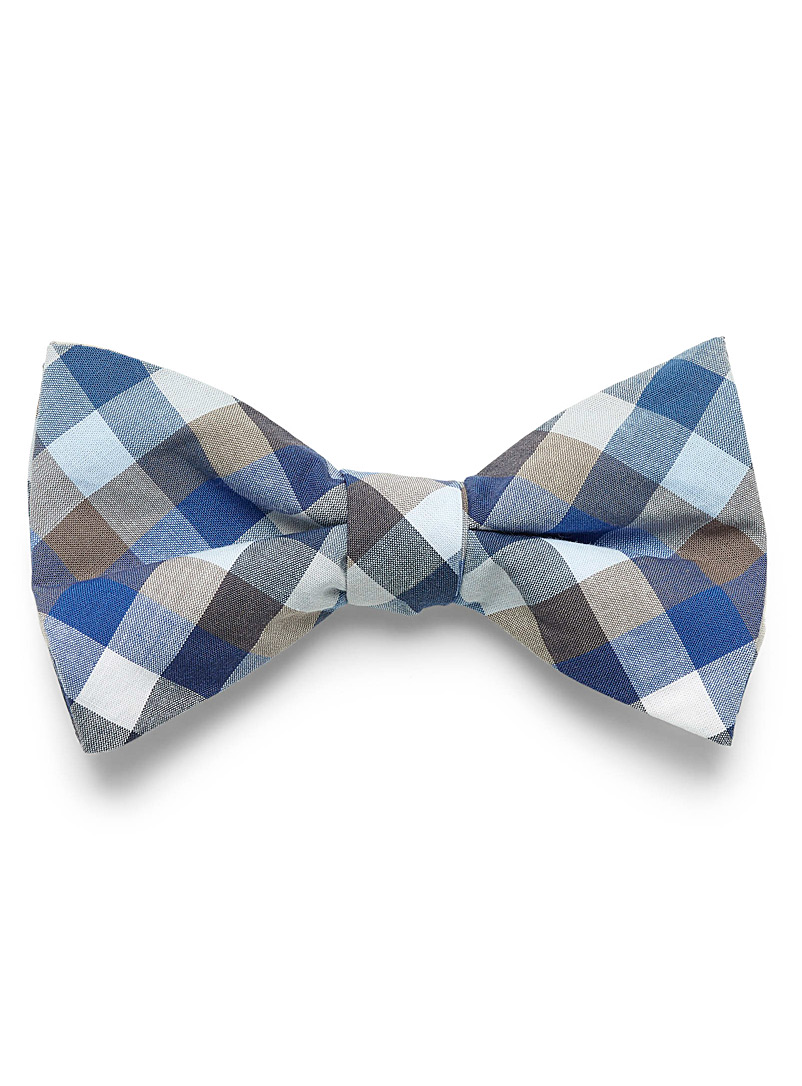 Le 31 Patterned Blue Earthy accent checkered bow tie for men