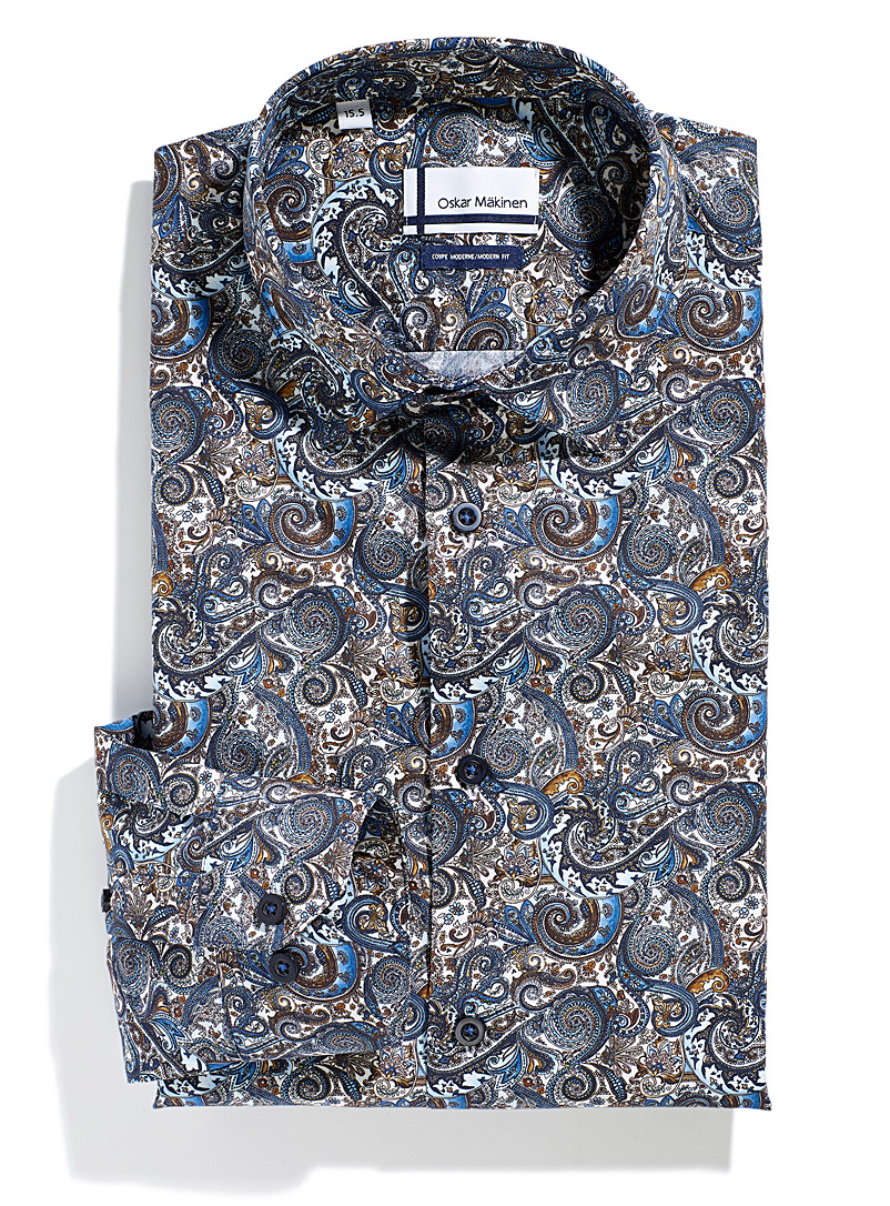 Earth and sea paisley shirt Modern fit