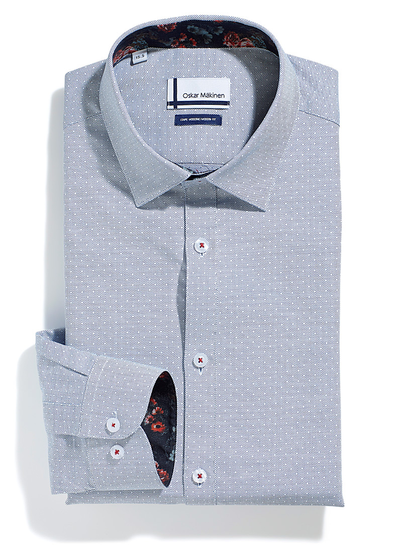 Oskar Mäkinen Marine Blue Trellis jacquard woven dot shirt Modern fit for men
