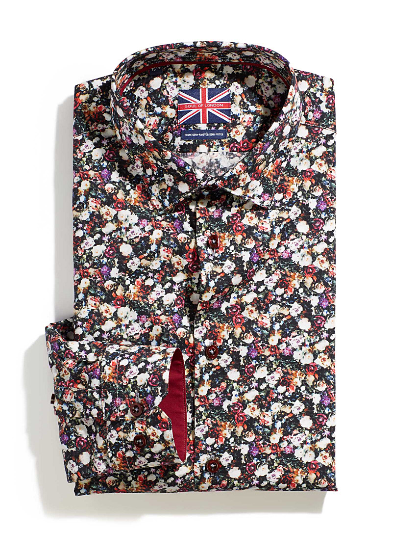 Floral bouquet shirt  Semi-tailored fit - Semi-tailored fit - Red