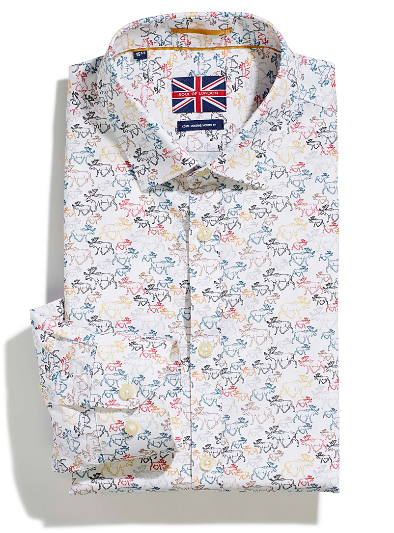 Le 31 Patterned White Western moose shirt  Modern fit for men