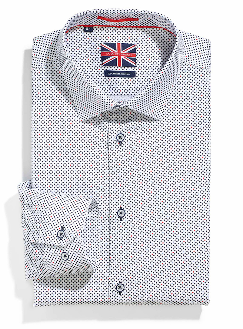 Le 31 Patterned White Sailor dots shirt  Modern fit for men