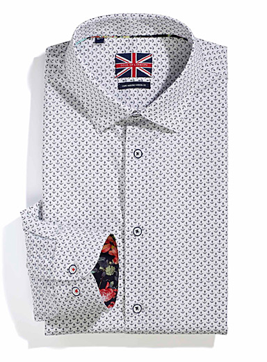 Le 31 Patterned White Sailor shirt  Modern fit for men