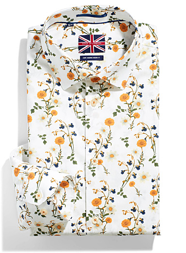 Le 31 Patterned White Wild bouquet shirt  Modern fit for men